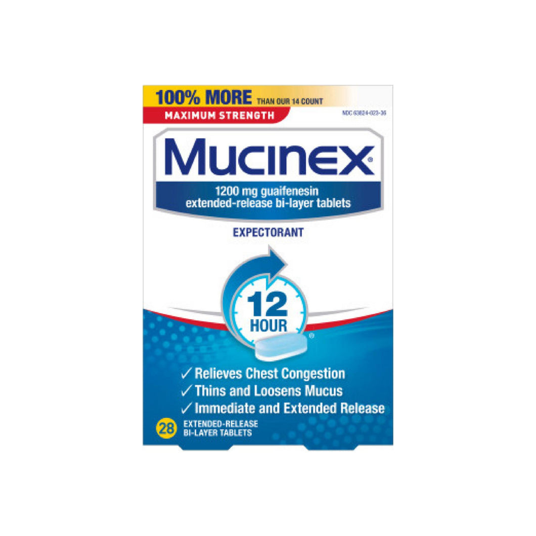 Mucinex 12 Hr Max Strength Chest Congestion Expectorant Tablets, 28 ea