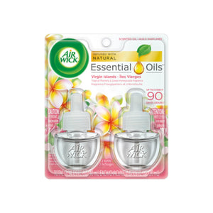 Air Wick Scented Oil Twin Refill Virgin Islands Tropical Plumeria & Sweet Honeysuckle (2X.67) oz