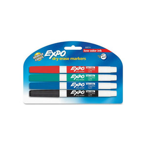 Expo Low-Odor Dry Erase Markers, Fine Point, Assorted Colors 4 ea