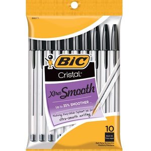 Bic Cristal Stic Medium Ball Pen, Black 10 ea