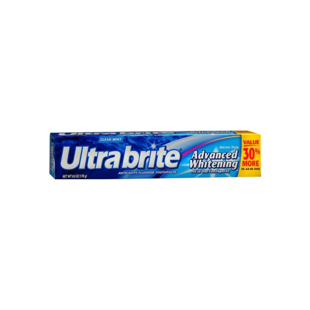 Ultra brite Advanced Whitening Toothpaste Clean Mint 6 oz