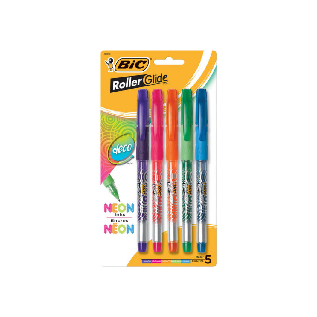 Bic Z4+ Rollerball Fine Point Pens, Assorted Colors 5 ea
