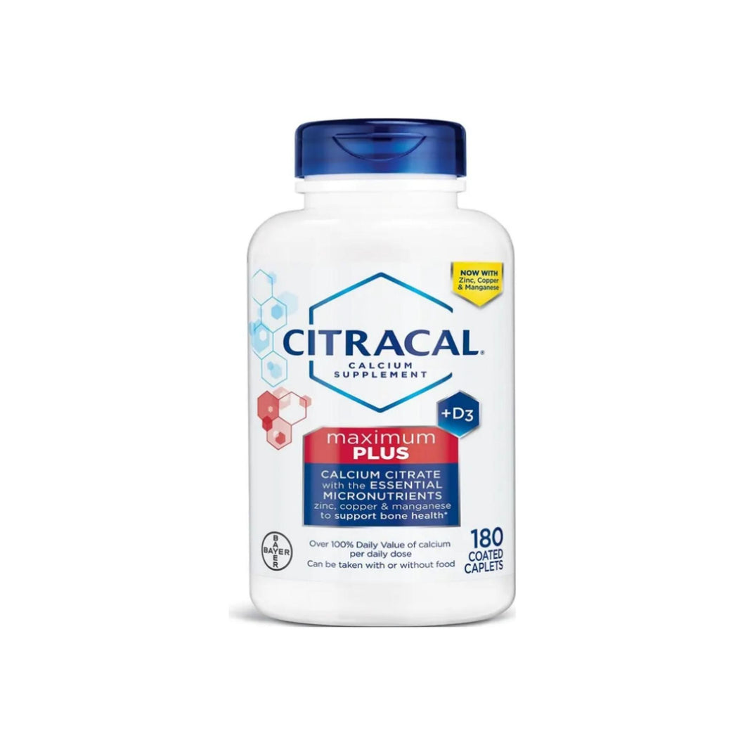 Citracal Maximum Plus Calcium Citrate Supplement With Vitamin D3, 180 Coated Caplets