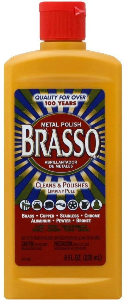 Brasso Metal Polish, 8 oz Bottle for Brass, Copper, Stainless, Chrome, Aluminum, Pewter & Bronze, 8 oz