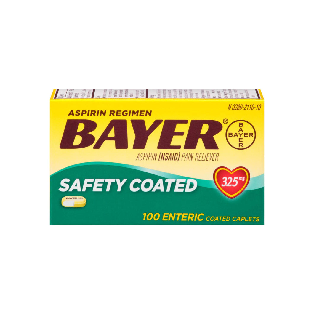 Bayer Aspirin Pain Reliever Safety Coated Enteric Caplets, 325 mg, 100 ea