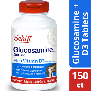 Schiff Glucosamine 2000mg with Vitamin D3 and Hyaluronic Acid Joint Supplement, 150 ct