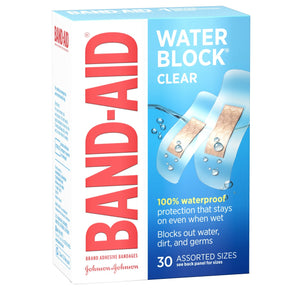 BAND-AID Bandages Water Block Plus Clear Assorted Sizes 30 Each