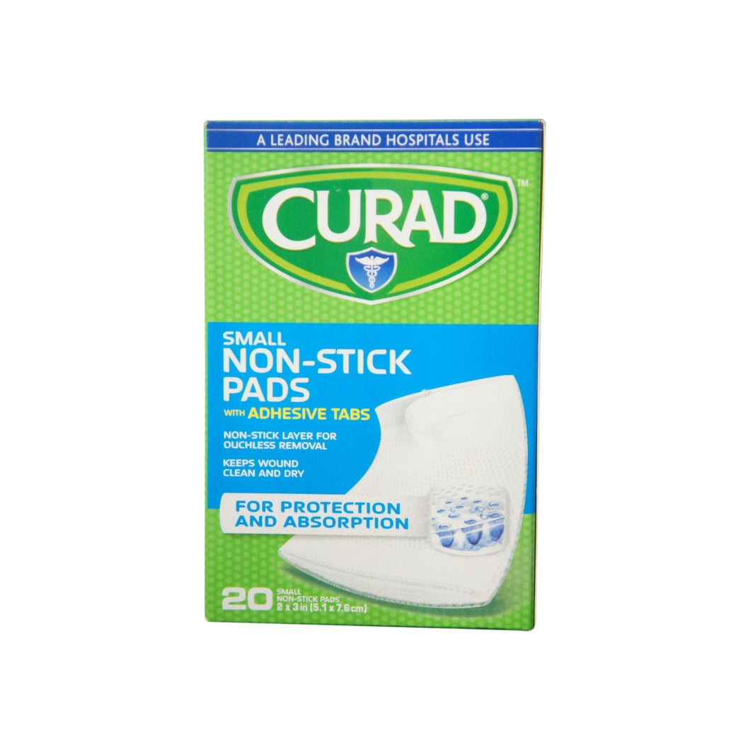 Curad Small Non-Stick Pads With Adhesive Tabs 2 Inches X 3 Inches 20 Each