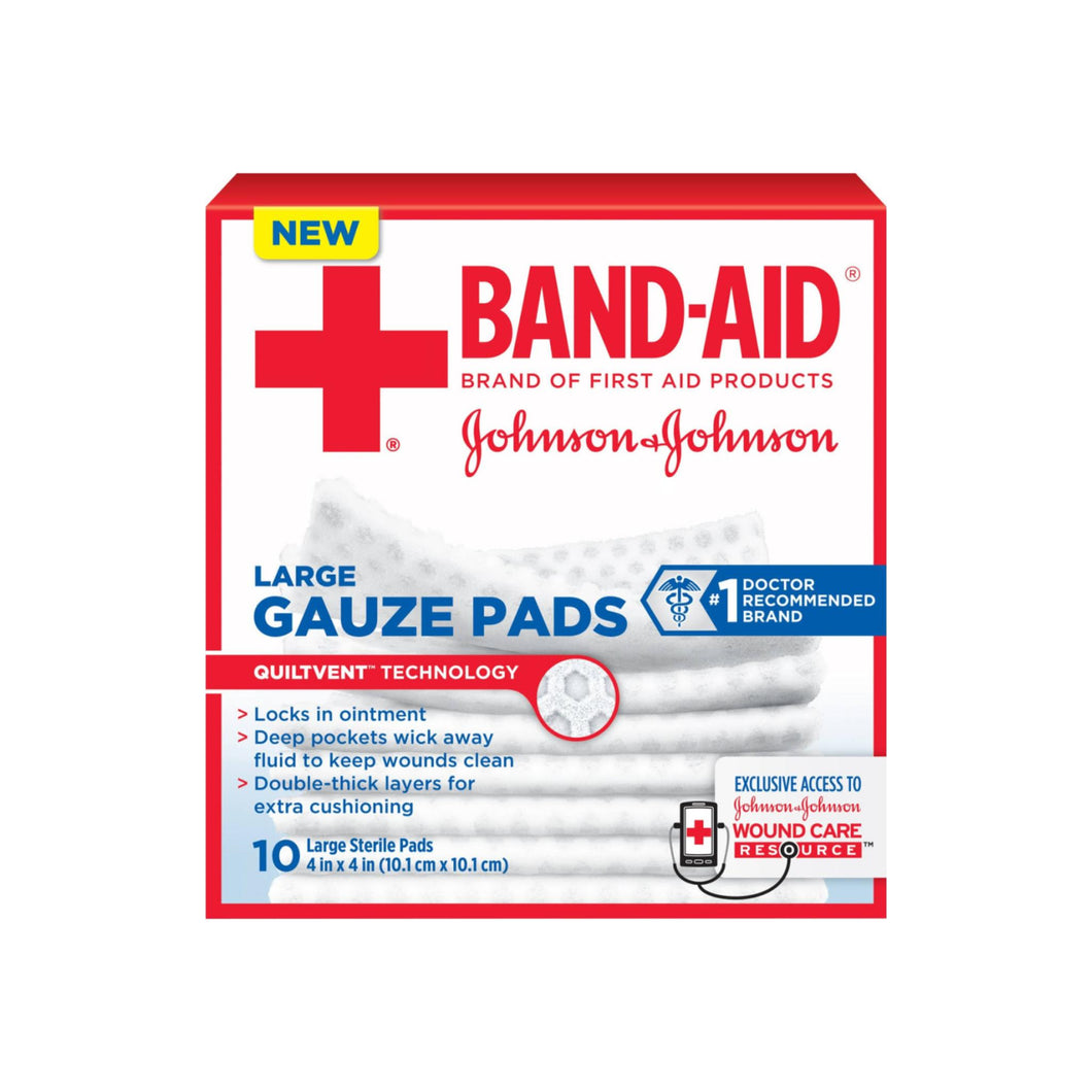 JOHNSON & JOHNSON Red Cross First Aid Gauze Pads 4 Inches X 4 Inches 10 Each