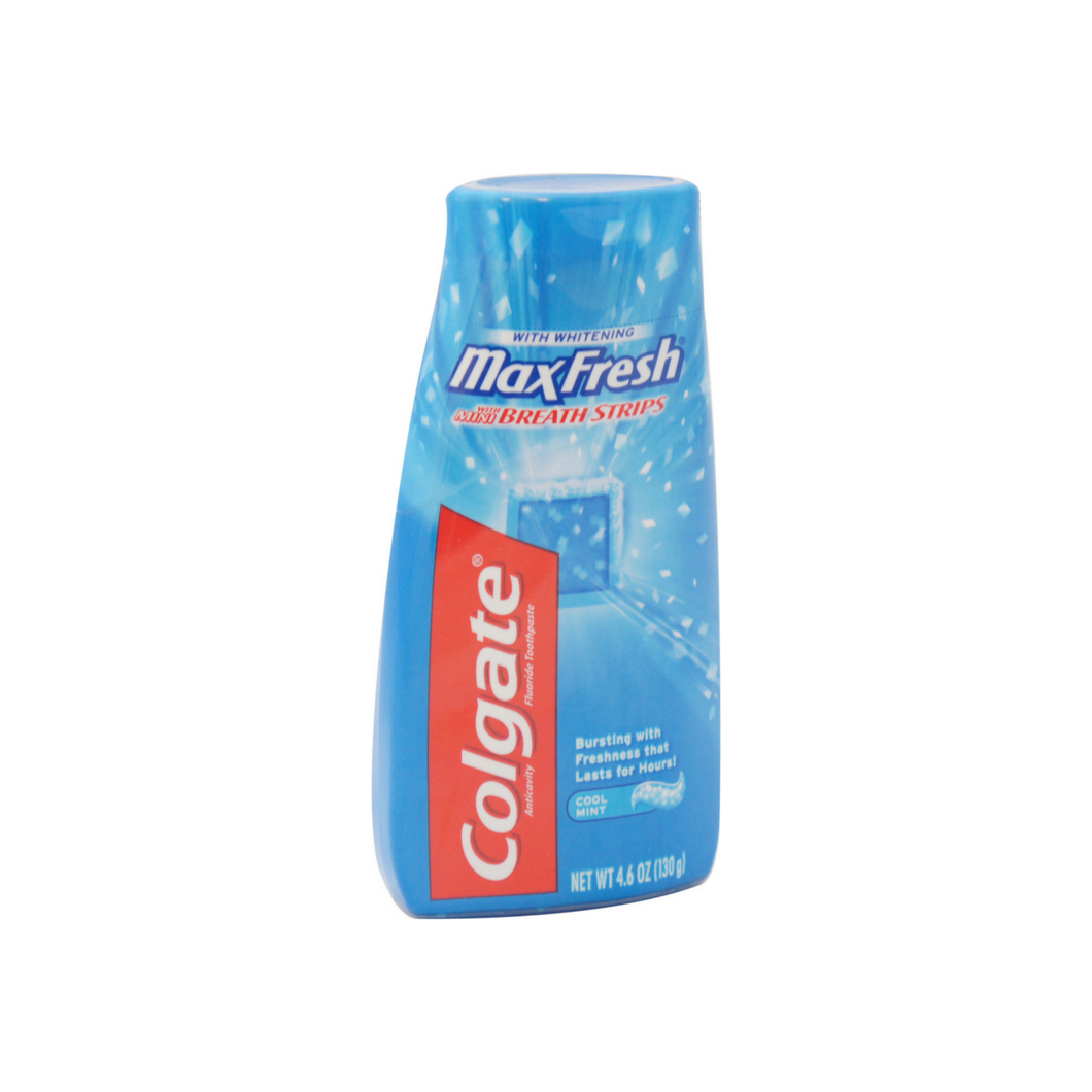 Colgate MaxFresh Fluoride Toothpaste with Mini Breath Strips, Whitening, Cool Mint 4.6 oz