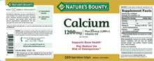 Load image into Gallery viewer, Nature's Bounty Calcium 1200mg + D Softgels 120 ea