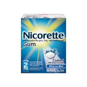 Nicorette 2 mg Nicotine Gum, Coated White Ice Mint 100 ea