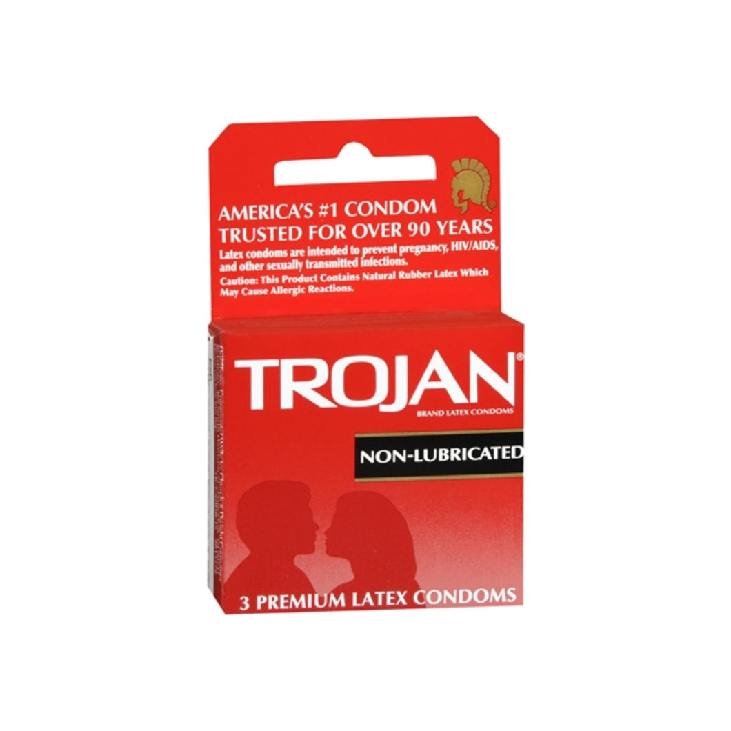 TROJAN Condoms Non-Lubricated Latex 3 Each
