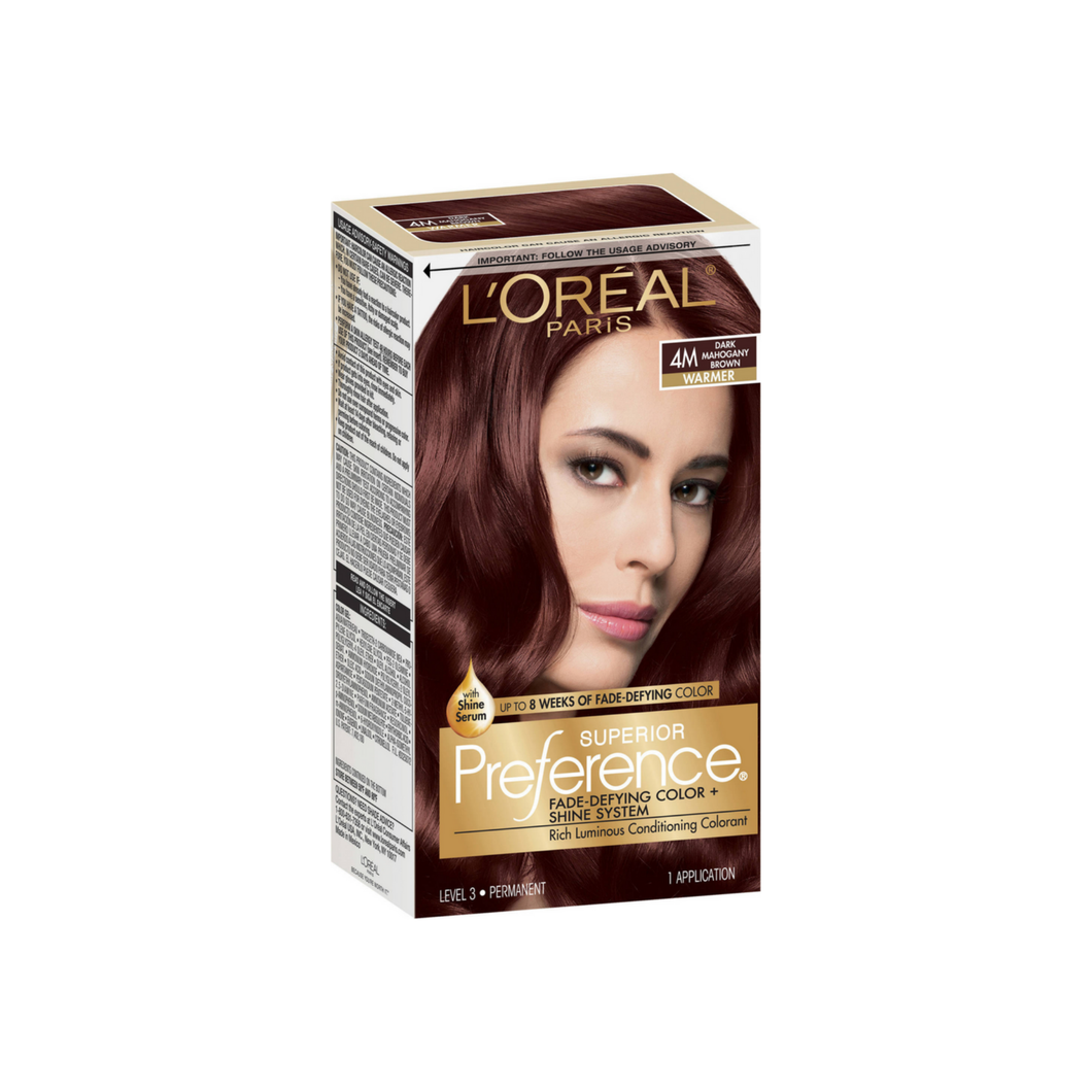 L'Oreal Paris Superior Preference Fade-Defying Color + Shine System, Dark Mahogany Brown [4M] 1 ea