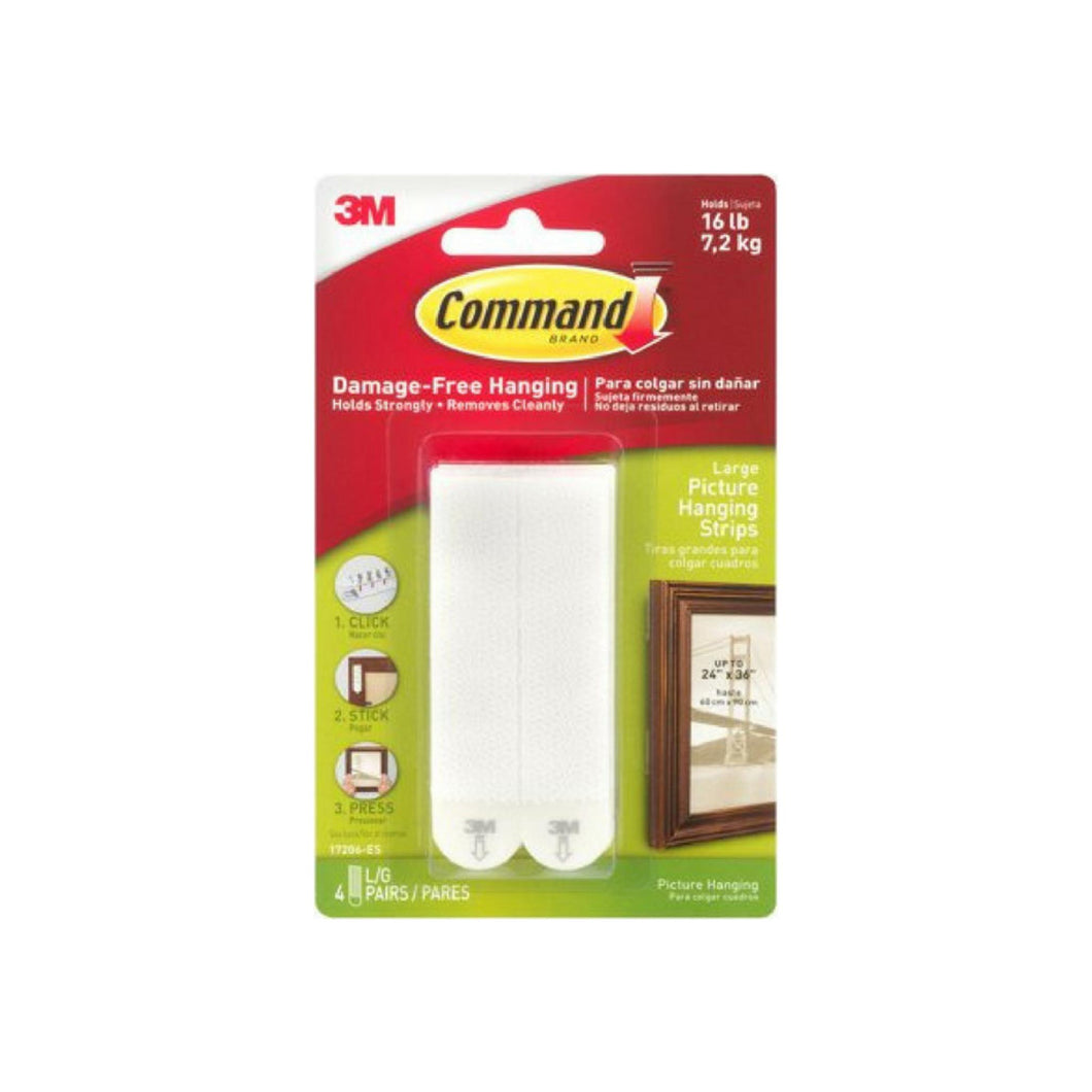 Command Large Picture Hanging Strips, White 4 ea