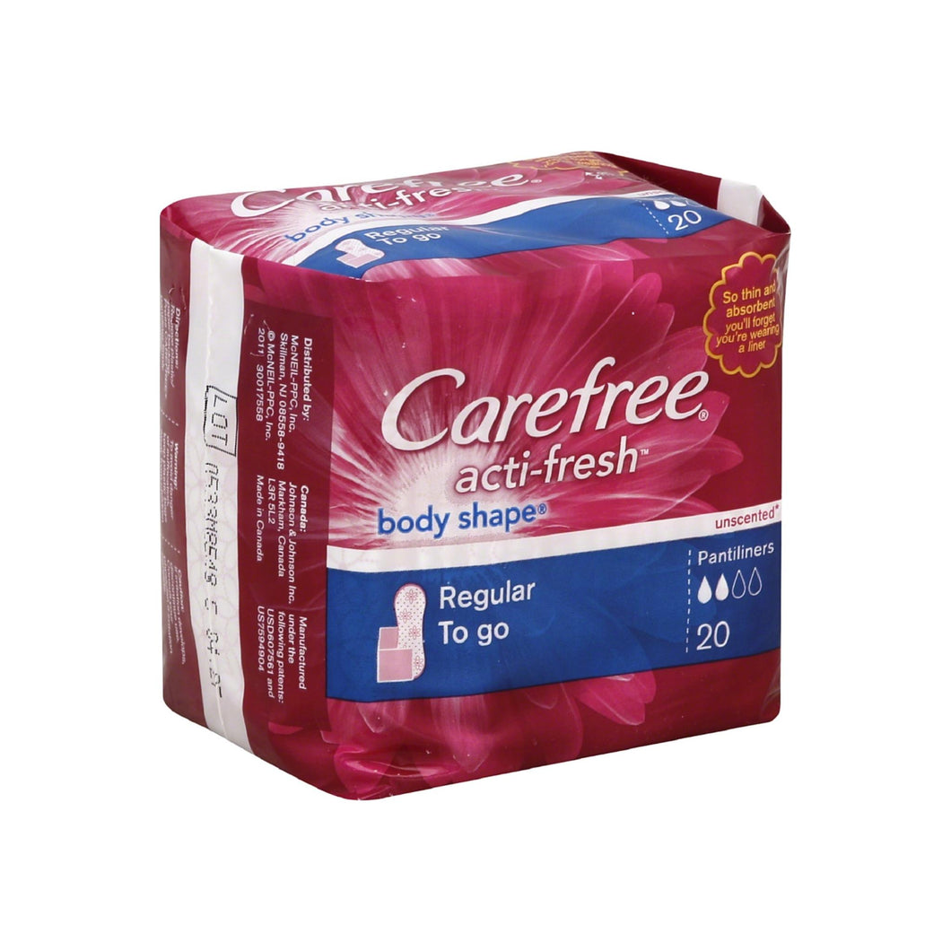 CAREFREE Acti-Fresh Body Shape Regular To Go Pantiliners, Unscented 20 ea