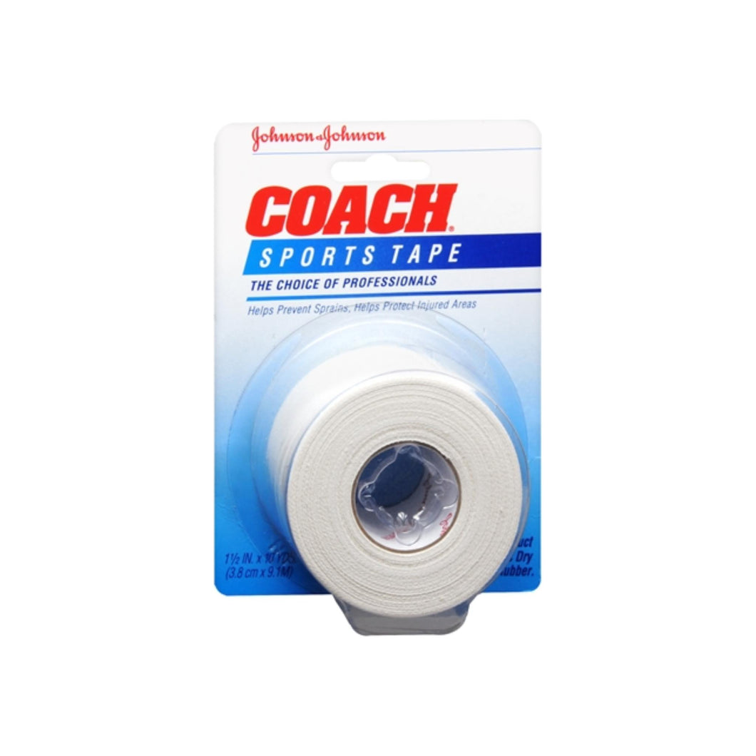 JOHNSON & JOHNSON COACH Sports Tape 1-1/2 Inches X 10 Yards