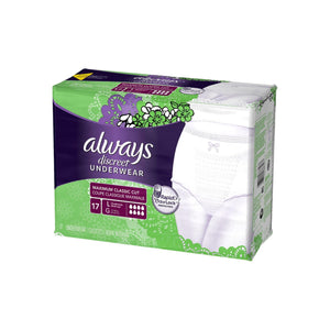 Always Discreet Maximum Absorbency Incontinence Underwear, Large 17 ea