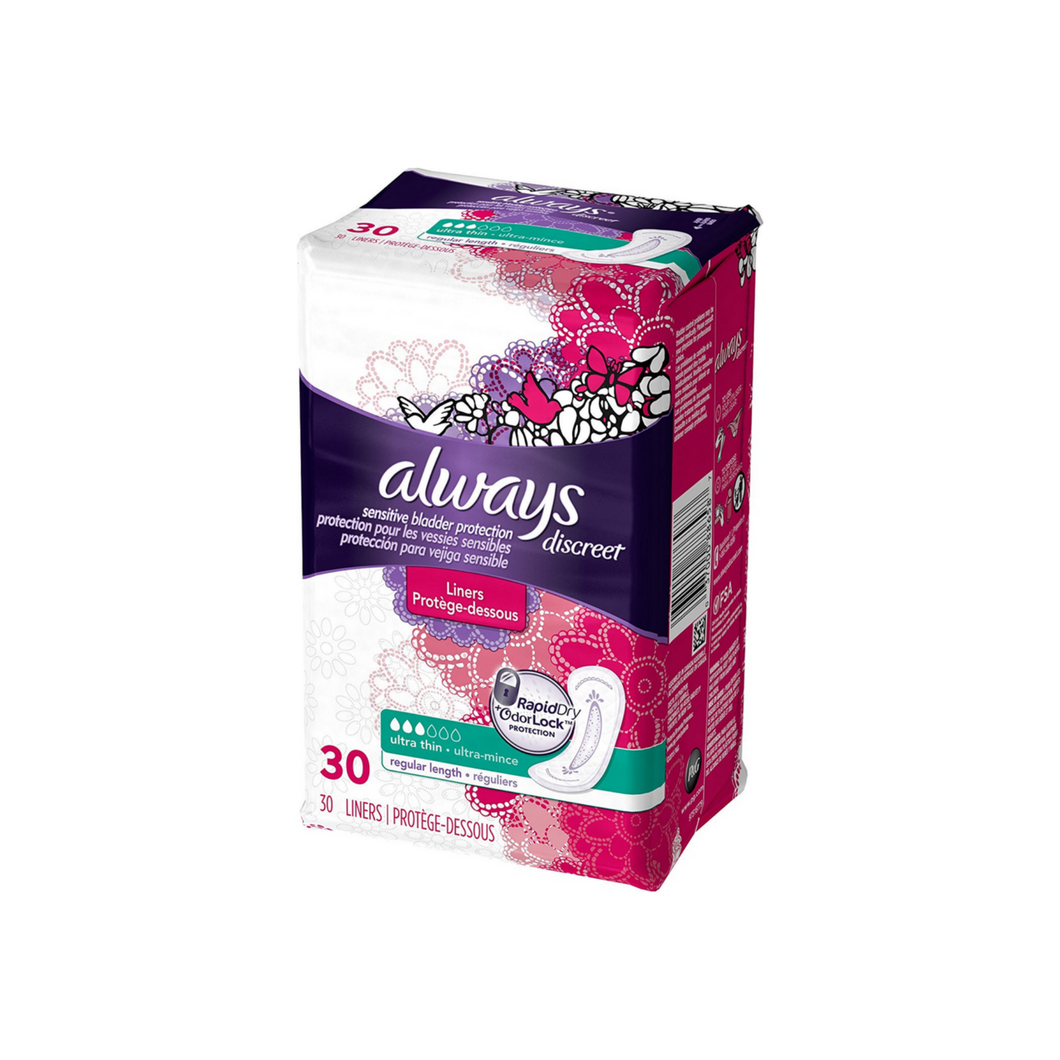 Always Discreet Ultra Thin Incontinence Liners, Regular Length 30 ea