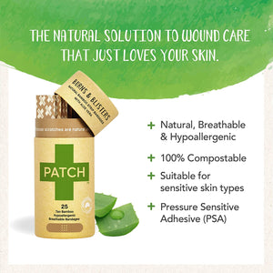 PATCH Organic Bamboo Adhesive Strip Bandages with Aloe Vera, Tan, 25 ct