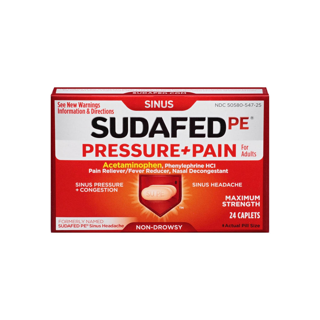 SUDAFED PE Pressure + Pain Maximum Strength Caplets for Adults 24 ea