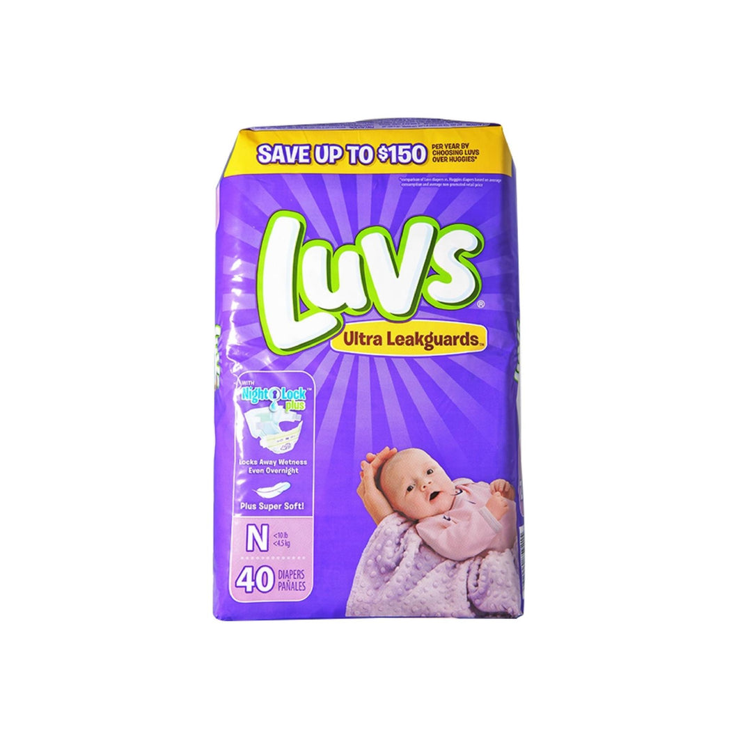 Luvs Ultra Leakguards Diapers with Night Lock, Size N 40 ea
