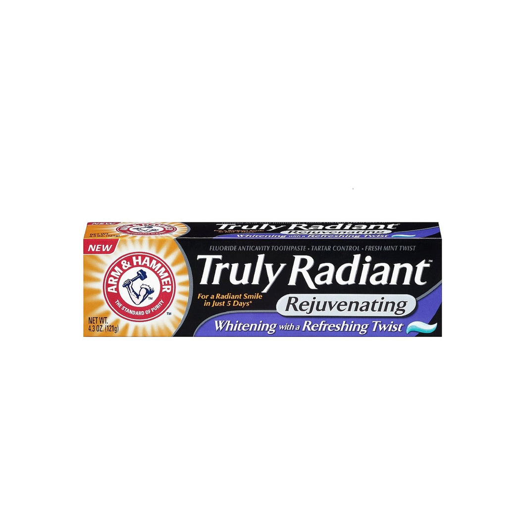 ARM & HAMMER Truly Radiant Rejuvenating Toothpaste, Fresh Mint Twist 4.30 oz