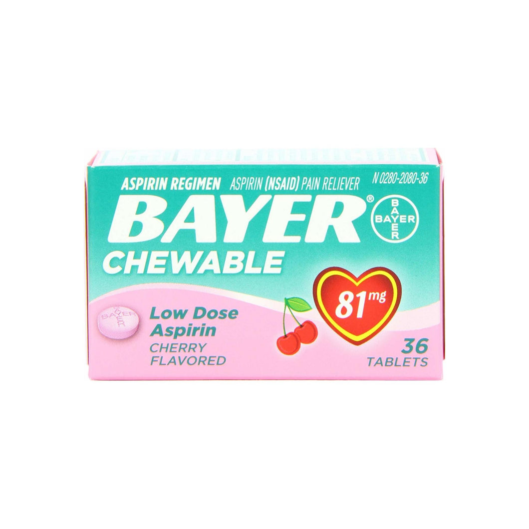 Bayer Chewable Low Dose Aspirin 81mg Cherry Flavored 36 Tablets