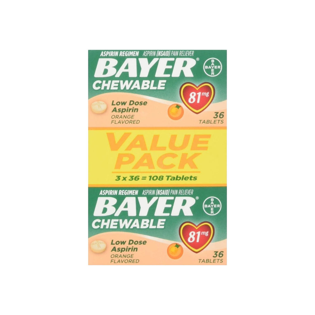Bayer Chewable Low Dose Aspirin 81 mg Tablets Orange Value Pack 108 Tablets