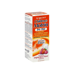 Motrin Children's Dye-Free Pain Reliever/Fever Reducer, Original Berry Flavor 4 oz