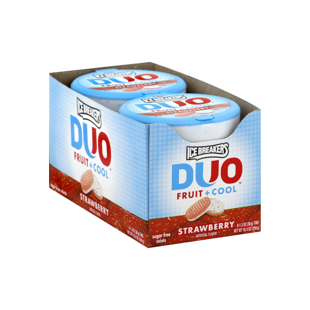 Ice Breakers Duo Fruit + Cool Sugar Free Mints, Strawberry 1.30 oz, 8 ea