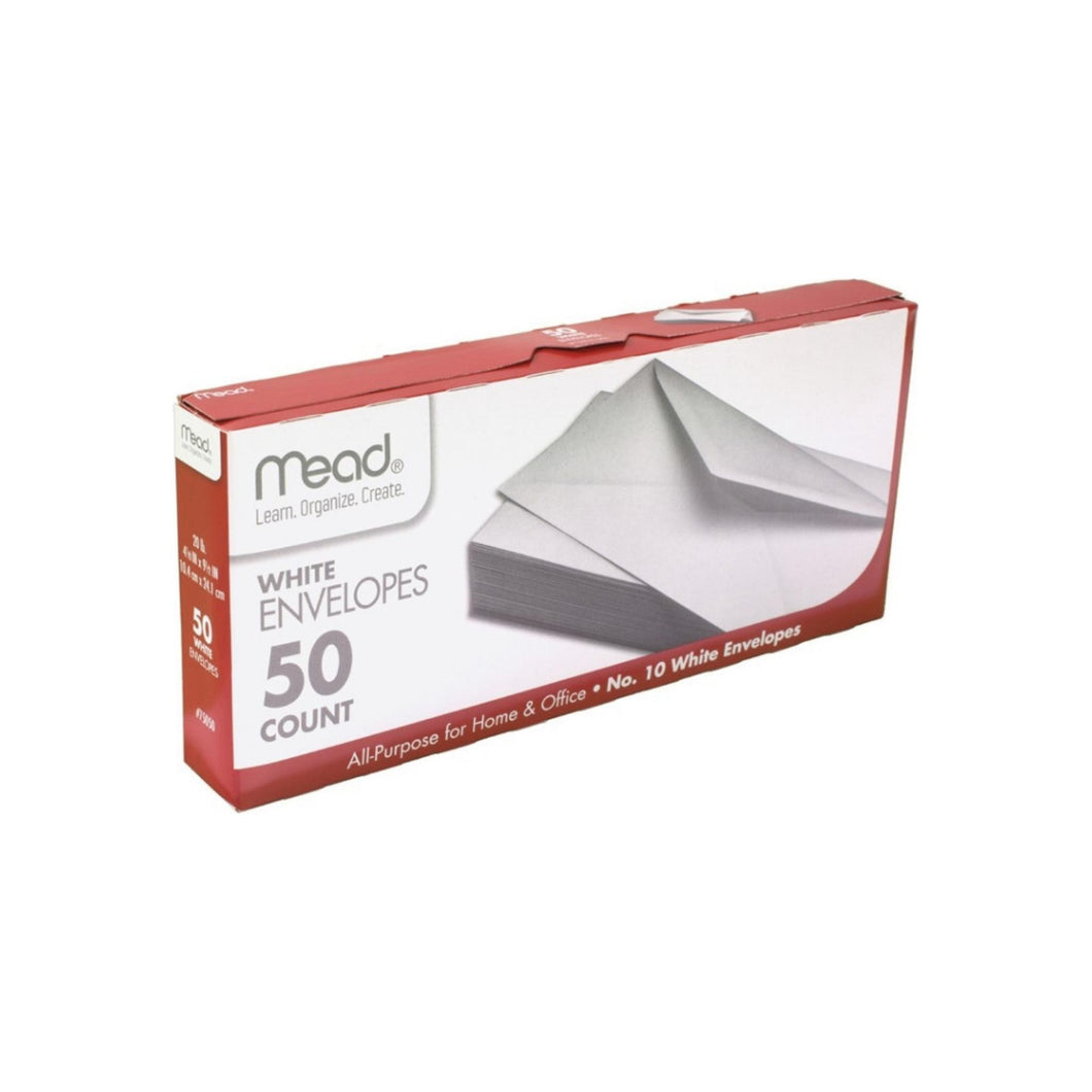 Mead Plain White Envelopes 4.125'' x 9.5'' 50 ea