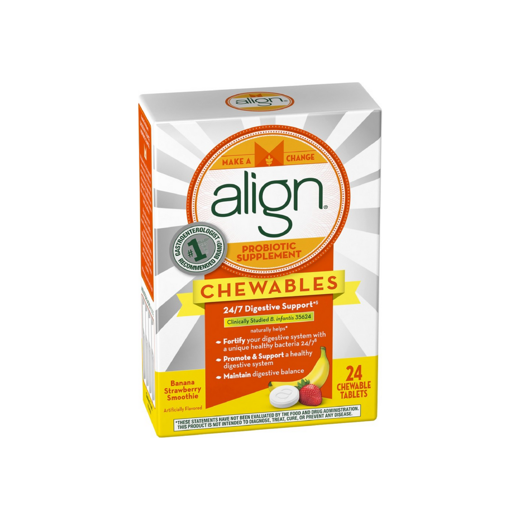 Align Probiotic Supplement Chewable Tablets, Banana Strawberry Smoothie 24 ea
