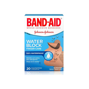 BAND-AID Water Block Finger-Care Bandages, Assorted Sizes 20 Each