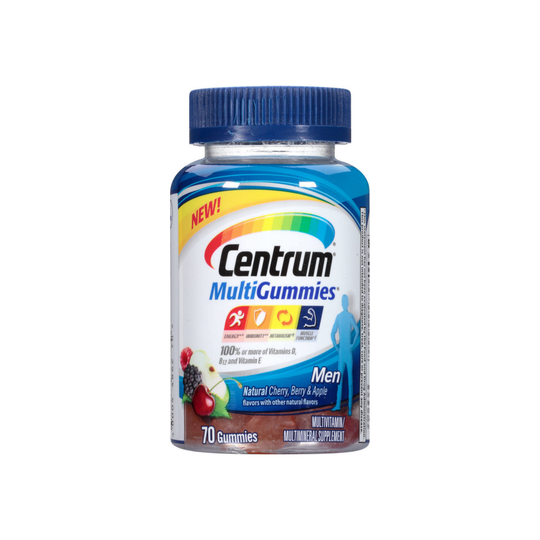 Centrum Men MultiGummies Multivitamin/Multimineral Supplement, Assorted Fruit Flavors  70 ea