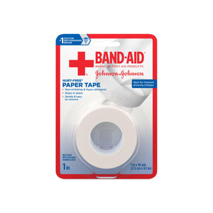 JOHNSON & JOHNSON BAND-AID First Aid Paper Tape 1 Inch X 10 Yards