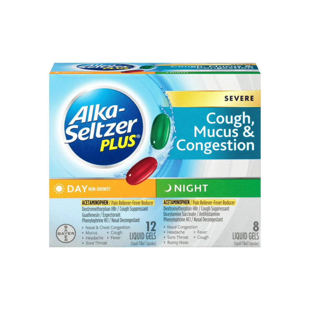 Alka-Seltzer Plus Day & Night Severe Cough, Mucus, & Congestion Liquid Gels 20 ea