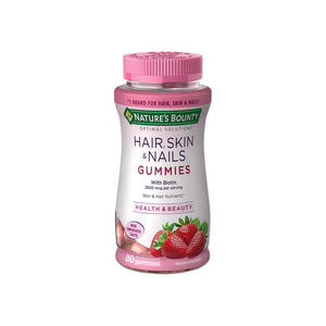 Nature's Bounty Optimal Solutions Hair, Skin and Nails Gummies with Biotin, Strawberry Flavored 80 ea