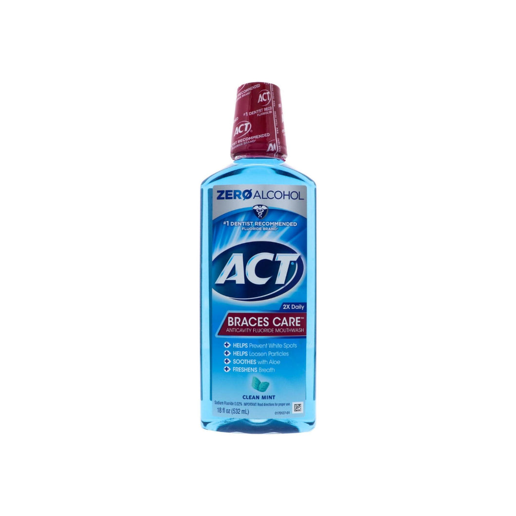 ACT Braces Care Anticavity Fluoride Mouthwash with Xylitol, Clean Mint 18 oz - Pharmapacks
