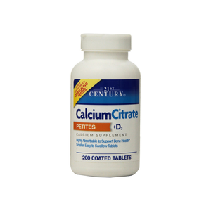 21st Century Calcium Citrate + D3 Petites Coated Tablets 200 ea