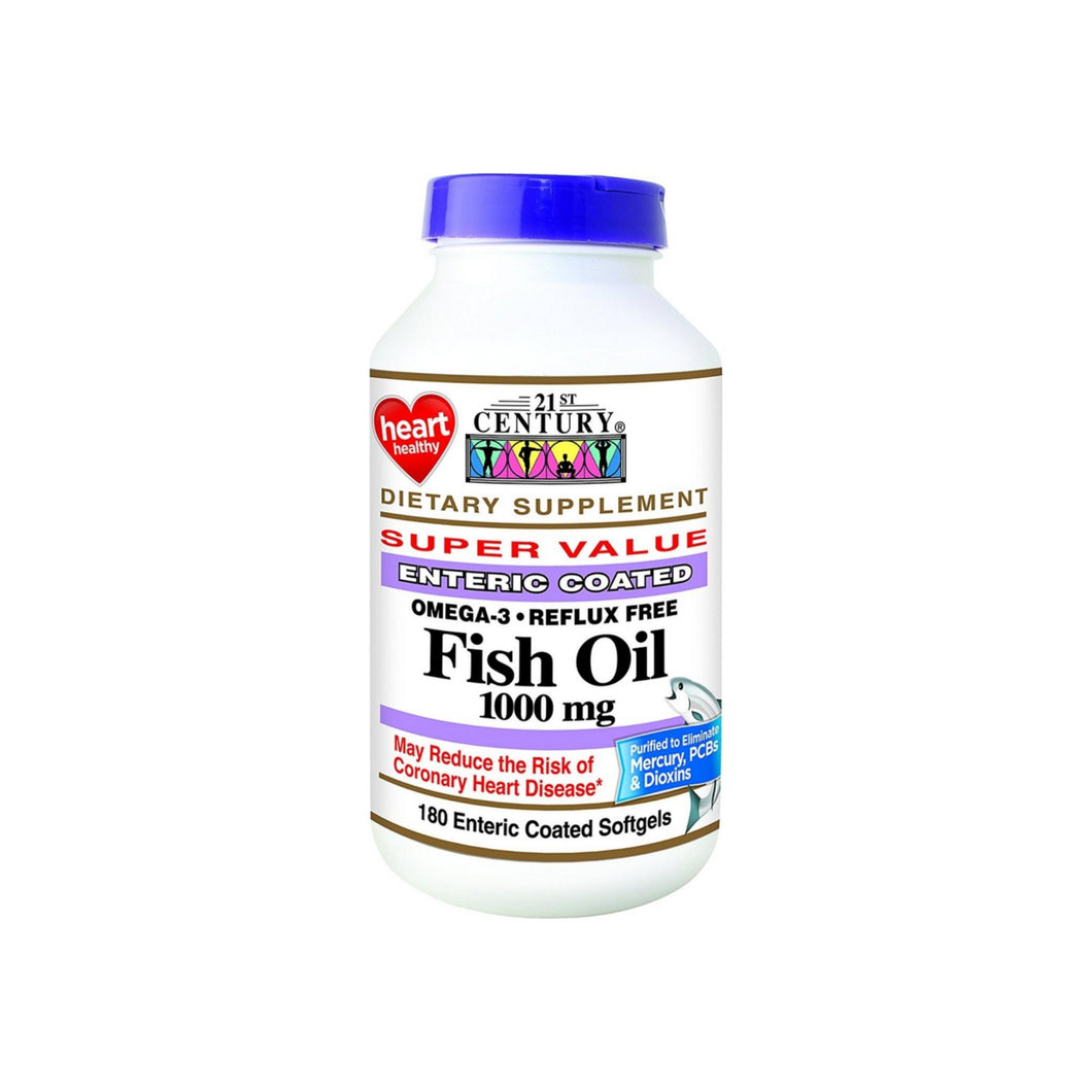 21st Century Fish Oil 1000 mg Enteric Coated Softgels 180 ea - Pharmapacks