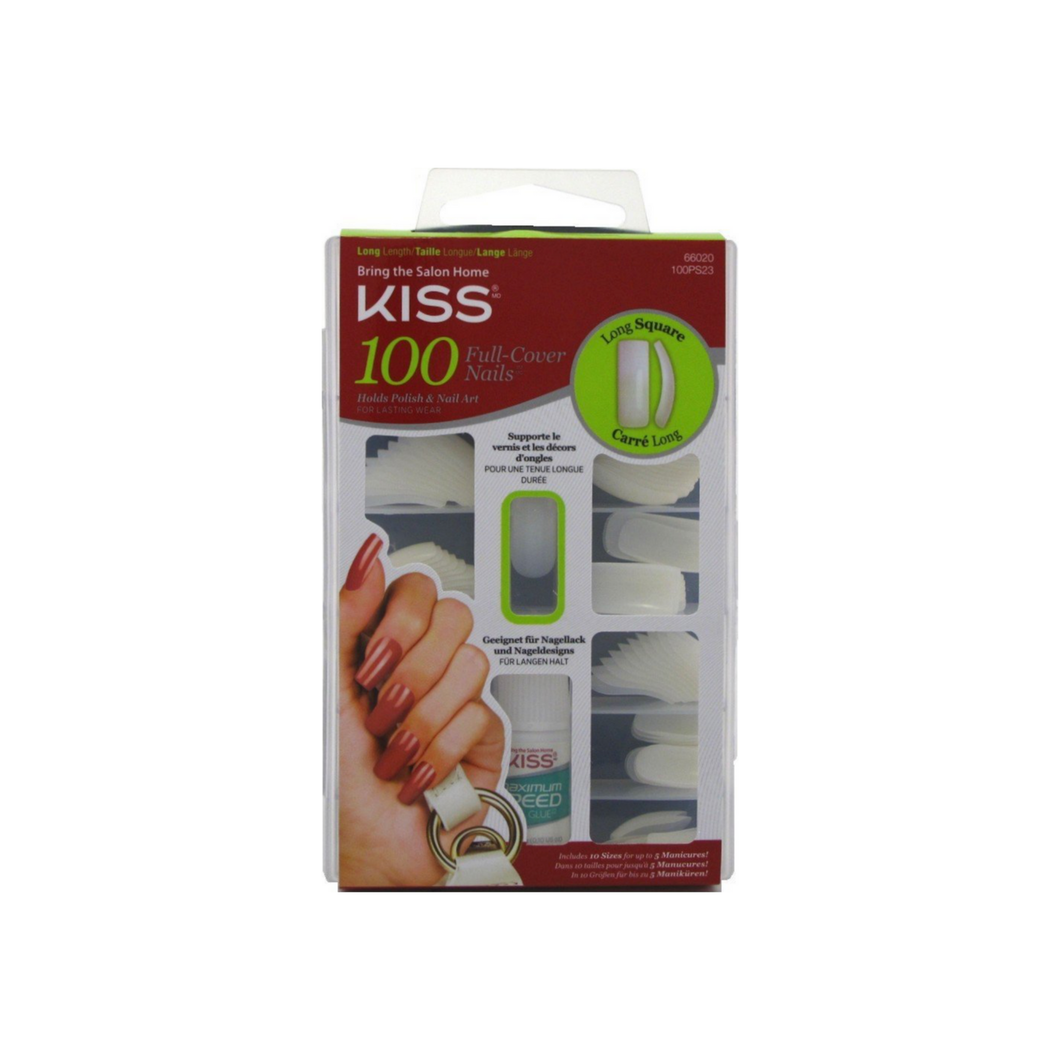 KISS 100 Full Cover Nails Kit, Long Square 1 ea