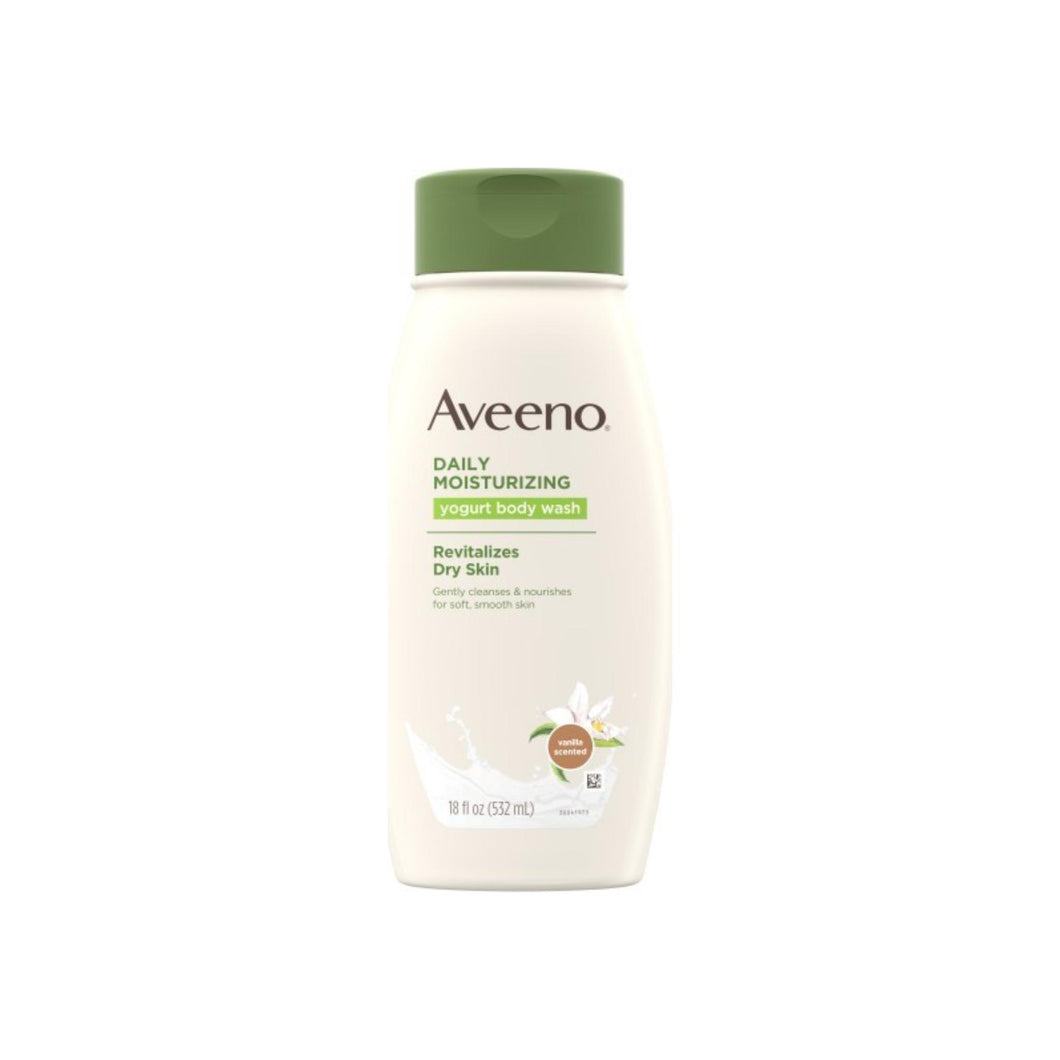 AVEENO Active Naturals Daily Moisturizing Yogurt Body Wash, Vanilla & Oat 18 oz