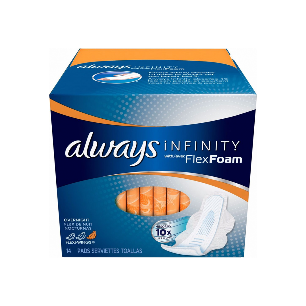 Always Infinity Maxi Pads With Avec FlexFoam Overnight 14 ea