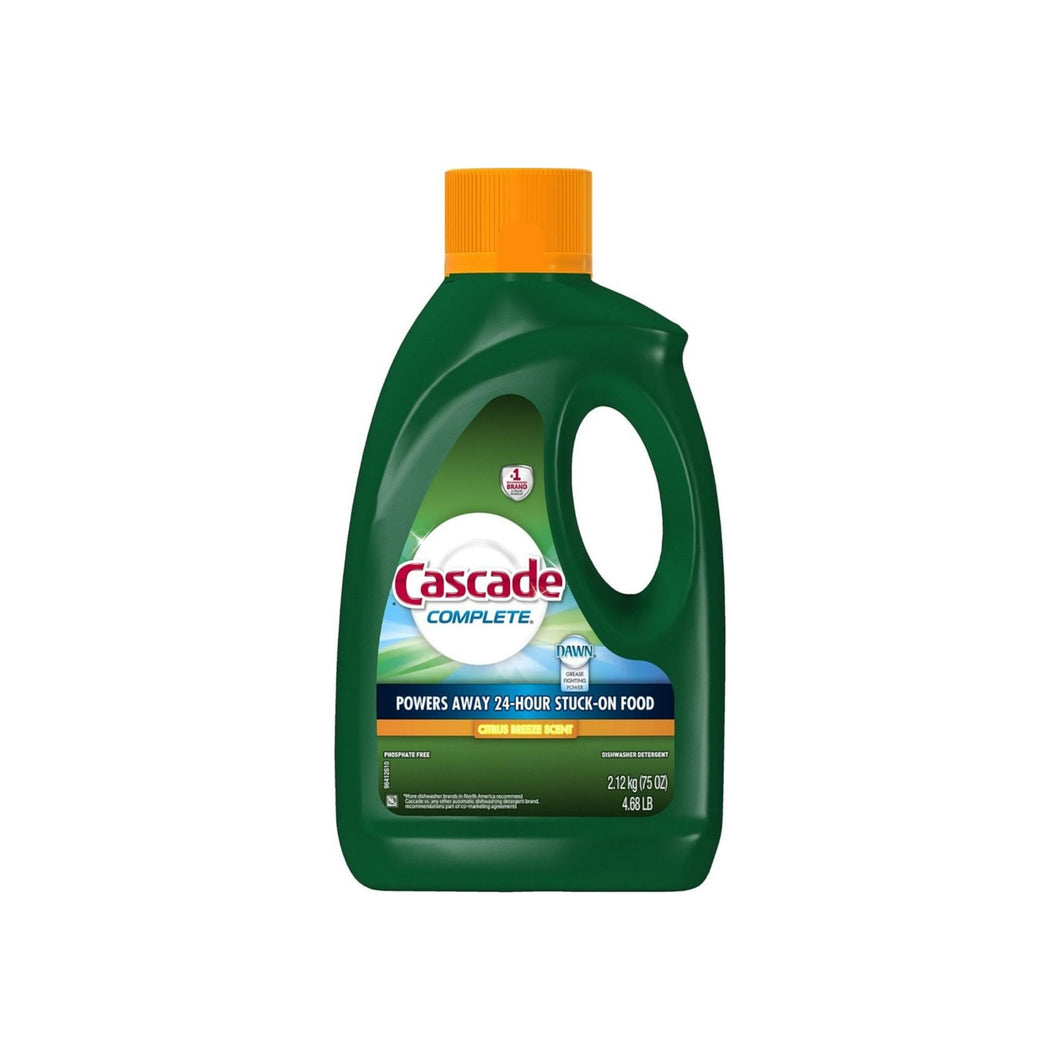 Cascade Complete Gel Dishwasher Detergent, Citrus Breeze Scent 75 oz