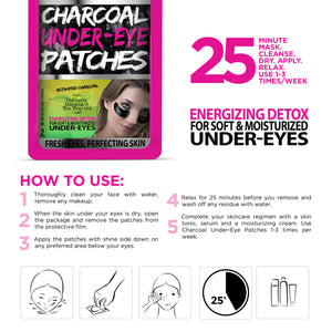 Biovène Charcoal Under-Eye Patches (0.21 oz ) Energizing Detox for Soft and Moisturized Under-Eyes - Soothing Eye Patches With Activated Charcoal, Collagen and Chamomile