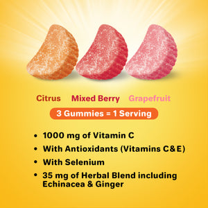 Airborne Assorted Fruit Flavored Gummies,1000mg of Vitamin C and Minerals & Herbs Immune Support 63 ea