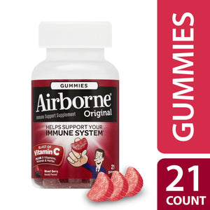Airborne Mixed Berry Flavored Gummies, 1000mg of Vitamin C and Minerals & Herbs Immune Support 21 ct