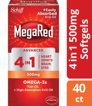 Load image into Gallery viewer, Megared Advanced 4 in1 500 Mg Omega 3 Supplement 40 ea