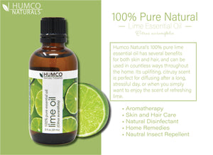 Humco Natural Therapies Lime Oil with Dropper, 2 Oz, 100% Pure Essential Oil